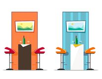 Messo dalla tavola e dalle sedie della barra con un'immagine e una bottiglia con i vetri Illustrazione di vettore illustrazione di stock