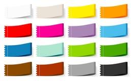Messo dell'etichetta variopinta Zig Zag del tessuto sedici illustrazione di stock