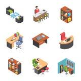 Messo delle icone del posto di lavoro dell'ufficio royalty illustrazione gratis
