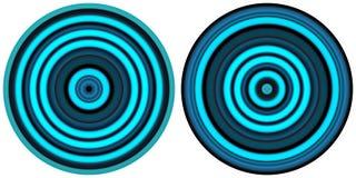 Messo di 2 cerchi blu al neon variopinti dell'estratto luminoso isolati su fondo bianco Linee circolari, struttura a strisce radi illustrazione di stock