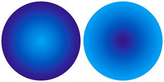 Messo di 2 cerchi radiali blu di pendenza dell'estratto luminoso isolati su fondo bianco E PA vivo del cerchio illustrazione vettoriale