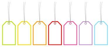 Messo di sette Hangtags incornici i colori dell'arcobaleno illustrazione vettoriale