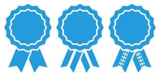 Messo di un blu di tre del grafico di Oktoberfest distintivi del premio illustrazione di stock