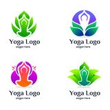 Messo di yoga e di bellezza Logo Design illustrazione vettoriale