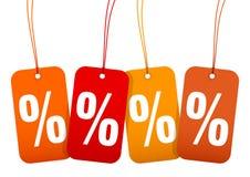 Messo le quattro percentuali Autumn Brown Und Orange di vendita dei Hangtags illustrazione vettoriale