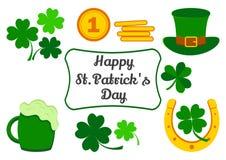 Messo per il giorno di San Patrizio Simboli della festa Trifoglio, monete, cappello, ferro di cavallo, birra Vettore illustrazione vettoriale