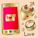 Messo per il giorno di tutti gli amanti oro, gioielli, diamanti, oro, anello, telefono dorato, robot dorato, cuore del robot, cor illustrazione vettoriale