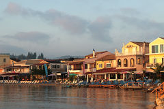 Messonghi strand från havet, Korfu Grekland Fotografering för Bildbyråer