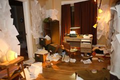 Messy apartment. An apartment room that has been ransacked Stock Image