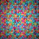 Messy Apps Pattern. Random Multicolored Web Icons. Royalty Free Stock Photos