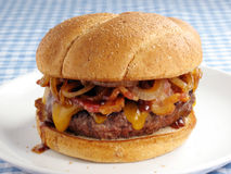 Messy Bacon Cheeseburger Stock Images