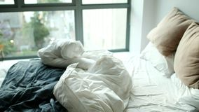 Messy bed in bedroom 4k. Messy bed in bedroom at home 4k stock video