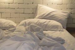 Messy bed at night Royalty Free Stock Photo