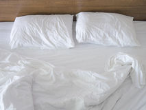 Messy bed not tidy Royalty Free Stock Photography