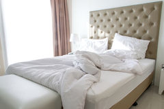 Messy bedding sheets and pillow Royalty Free Stock Image