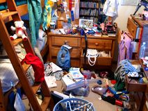 Messy Bedroom. A room is completely messed up and left in chaos. All logos are removed