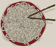 Messy bowl of hand drawn noodles. With chopsticks Royalty Free Stock Photos