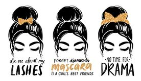 Free Messy Bun With Golden Glitter Bandana Or Headwrap And Hair Bow. Vector Woman Silhouette. Fashion Quotes About Mascara Stock Photo - 215414430