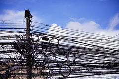 Messy Cable on Electric pole Stock Images
