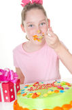 Messy cake icing on birthday Royalty Free Stock Photo