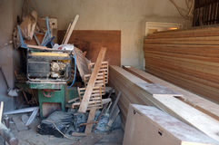 Messy carpenter workshop Stock Photography