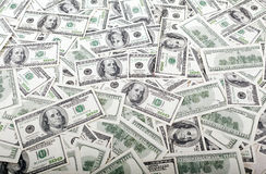 Messy Franklins Background. A messy carpet of 100 US$ money notes Stock Photo