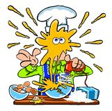 Messy cartoon chef cooking in the kitchen Royalty Free Stock Image