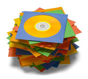 Messy CD Stack. Discs in Cases Stacked in Pile Isolated on a White Background Royalty Free Stock Images