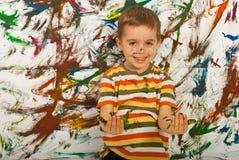 Messy child boy having fun royalty free stock photography