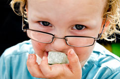 Messy Child and Turkish Delight Royalty Free Stock Photos
