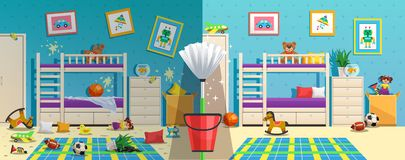 Messy Children Room Before After. Messy children room with furniture and interior objects before and after cleaning flat vector illustration royalty free illustration