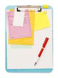 Messy Clipboard. Clipboard and Notes with Pen Isolated on a White Background Stock Image