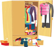 Messy clothing wardrobe Stock Photo