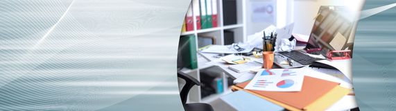 Messy and cluttered desk, light effect. panoramic banner. Messy and cluttered office desk, light effect. panoramic banner royalty free stock photo