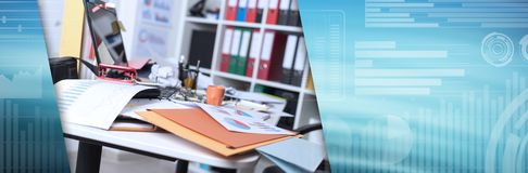 Messy and cluttered desk. panoramic banner. Messy and cluttered office desk. panoramic banner stock photo