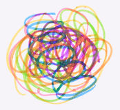 Messy color pen drawing. On white background Stock Photos