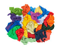 Messy colorful clothes from above Stock Photo