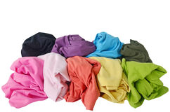 Messy colorful clothes, isolated white background Stock Photography