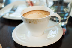 Messy cup of espresso Royalty Free Stock Images