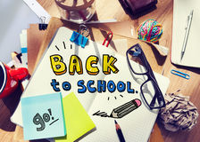 Messy Desk with Back to School Concept Stock Images