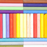 Messy and dirty crayons. Set in order horizontally and vertically Stock Images