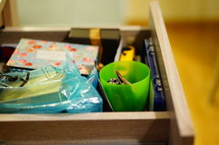 Messy drawer Stock Images