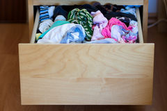 Messy Drawer. With clothes.Disorganized Stock Image