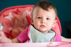 Messy Eating with Little Baby Royalty Free Stock Image