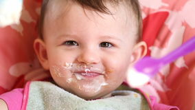 Messy Eating with Little Baby stock video footage