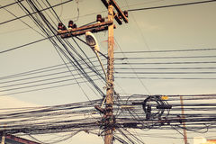 Messy electric cables in Phuket,Thailand. Asia Stock Photo