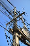 Messy electric line Stock Image
