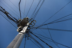 Messy Electric Post Wires Stock Photo