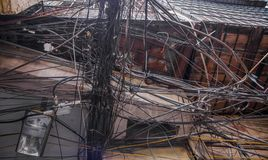 Messy electric wiring Royalty Free Stock Photos