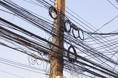Tangled Electrical Wire On Electricity Post Stock Photo - Image ...